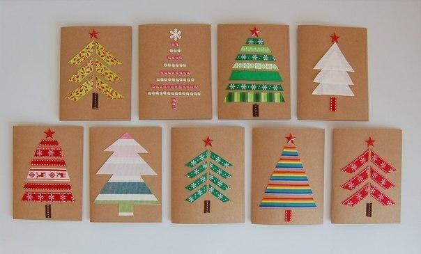 Новогодние открытки легкие своими руками