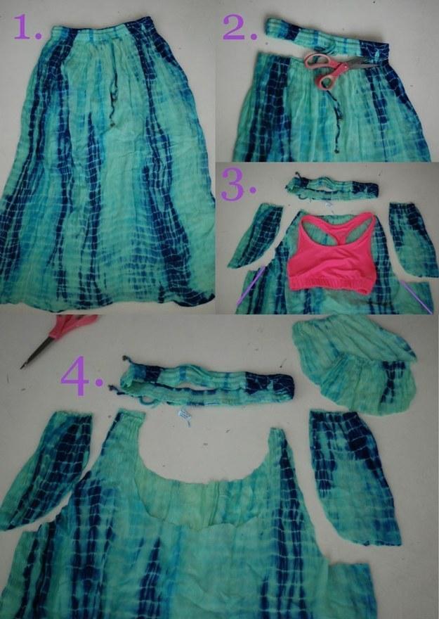 Как перешить рубашку в юбку