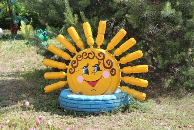 Поделки для сада: солнышко лучистое