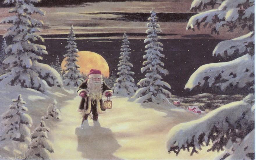 Дед Мороз идет по лесу