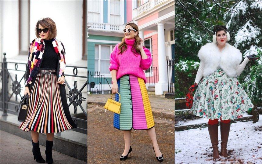 С чем носить юбки зимой