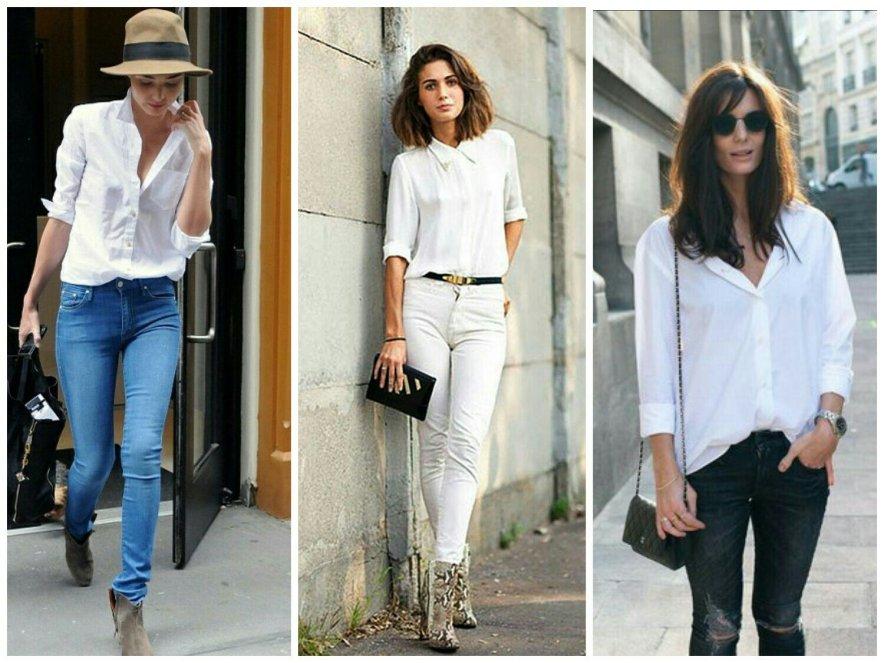 белая рубашка и скинни
