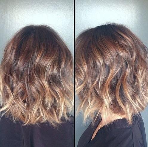 Прическа омбре на средние волосы