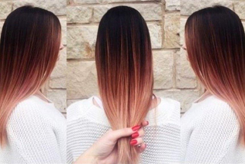 Омбре на русые волосы до лопаток