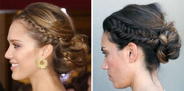 Фото причесок собранных волос с косой