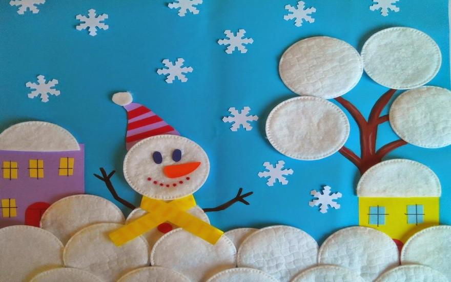 Аппликация из снеговика