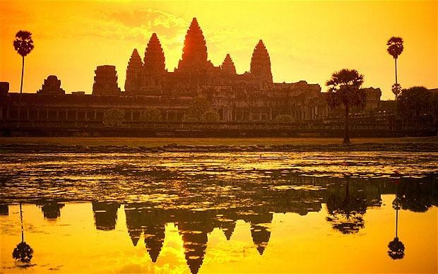 Камбоджа, закат, храм